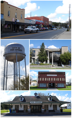 Top, left to right: Downtown High Springs, High Springs water tower, High Springs City Hall, Priest Theatre, Old High Springs Railroad Depot