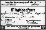 Hitler's DAP membership card