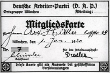adolf hitler simple english the encyclopedia hitler s membership card in the national socialist german worker party nsdap