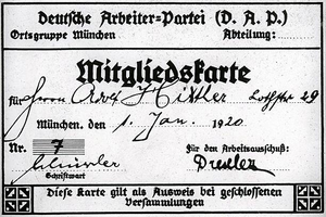 Political views of Adolf Hitler - Adolf Hitler's membership card for the German Workers' Party.