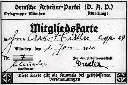 Adolf Hitler's DAP card with the membership number 7 (altered from the original) Hitler's DAP membership card.png
