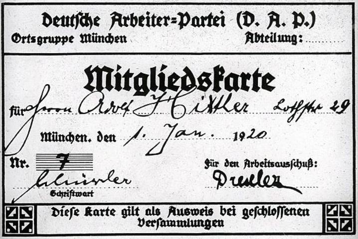 Hitler%27s DAP membership card