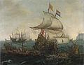 Hollandse schepen overzeilen Spaanse galeien onder de Engelse kust, 3 oktober 1602 Rijksmuseum SK-A-460.jpeg