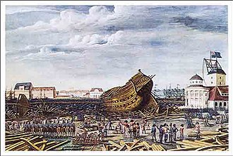 1807 in Denmark - British destruction of ship at Holmen, copy after painting by C. W. Eckersberg.