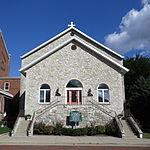 Holy Family Catholic Church (Oldenburg, Indiana) - rectory, original stone church, 1848.jpg