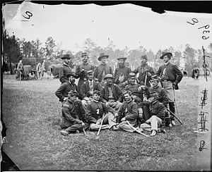 U.S. Horse Artillery Brigade - Officers of the Horse Artillery Brigade at Fair Oaks, 1862. Photo by James F. Gibson. Library of Congress.