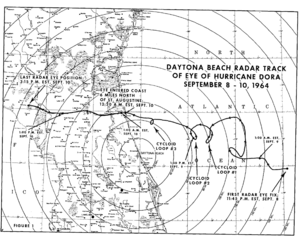 1964 Atlantic hurricane season - Track of Hurricane Dora as it approached North Florida