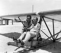 "INSTRUCTOR URI BRAIER WITH ONE OF THE MEMBERS OF THE ""FLYING CAMEL"" GLIDING CLUB DURING TRAINING NEAR BAT YAM. חברי מועדון ""הגמל המעופף"" נחים לאחר אימD393-007.jpg"