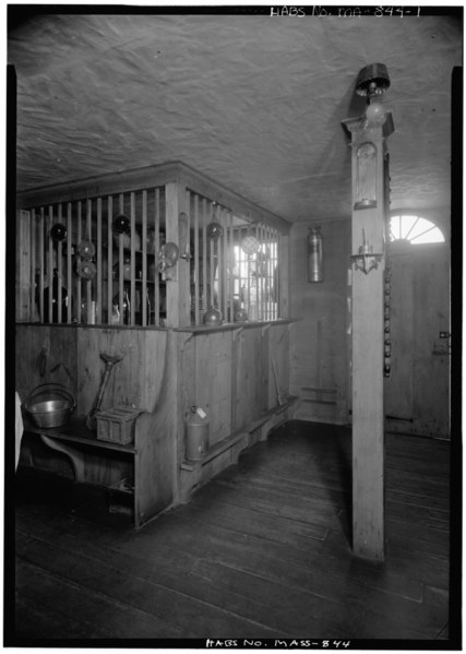 File:INTERIOR, COUNTRY STORE, BAR GRILL IN CORNER - John Atkinson Tavern, Exposition Grounds (moved from Prescott, MA), West Springfield, Hampden County, MA HABS MASS,7-SPRIFW,5-1.tif