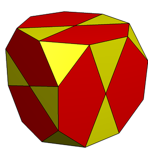 Truncated cube - A truncated cube with its octagonal faces divided with a central vertex into triangles and pentagons, creating a topological icosidodecahedron