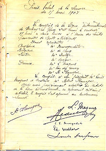 Photographie du document fondateur de l'IIHF