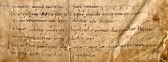 "Hymnody of continental Europe - This is the oldest known manuscript of a leise, ""Unsar trothîn hât farsalt,"" from the Petruslied."