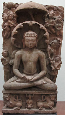 Statue of a cross-legged Parshvanatha