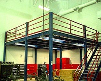Mezzanine - A structural steel mezzanine used for industrial storage