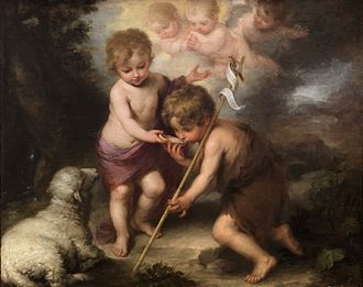 John the Baptist - John the Baptist (right) with child Jesus, in the painting The Holy Children with a Shell by Bartolomé Esteban Perez Murillo