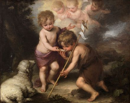 John the Baptist (right) with child Jesus, in the painting The Holy Children with a Shell by Bartolome Esteban Perez Murillo InfantJesus JohnBaptist.JPG