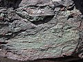 Interbedded specularite-quartzite (Soudan Iron-Formation, Neoarchean, ~2.722 Ga; display piece in monument at Tower Train Museum, Tower, Minnesota, USA) (21341238058).jpg