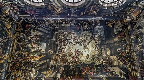 Interior of San Pantaleone (Venice) - The Martyrdom and Apotheosis of St Pantalon - Gian Antonio Fumiani.jpg