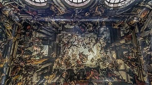 Interior of San Pantaleone (Venice) - The Martyrdom and Apotheosis of St Pantalon - Gian Antonio Fumiani.jpg