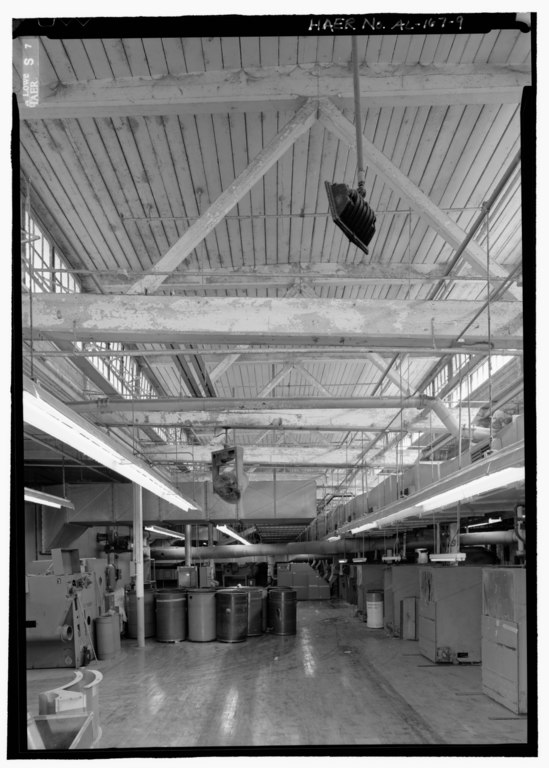 File interior view of second floor machine shop showing for Clerestory roof truss design