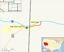 A map indicating the path of the highway through West Wendover and Wendover