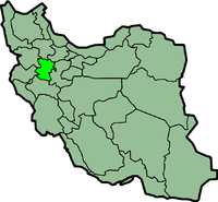 Map of Iran with हमदान highlighted.
