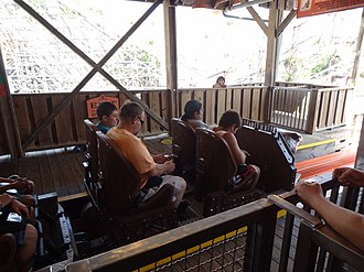 Iron Rattler - One of the themed trains departing the station