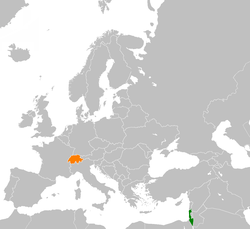 Map indicating locations of Israel and Switzerland