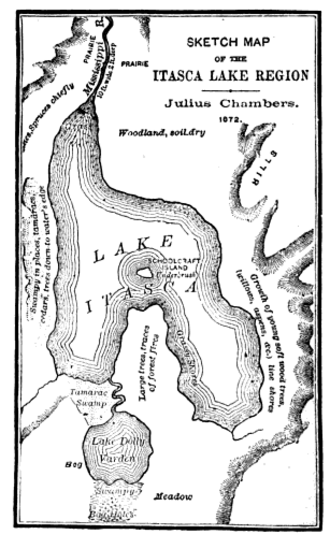 """Julius Chambers - Crude map of Elk Lake region, drawn by Julius Chambers. He called the lake  """"Lake Dolly Varden"""", a Dickensian name he also gave to the canoe he used on the trip."""