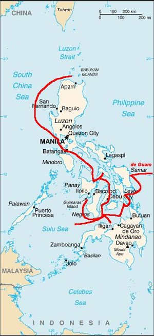 Spanish East Indies - Routes of early Spanish expeditions in the Philippines.