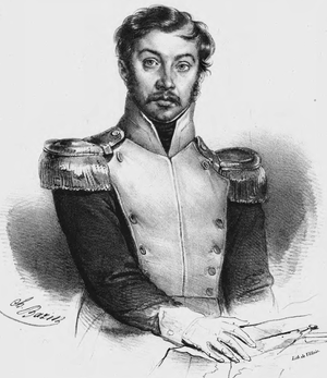 Charles-Louis Bazin - Portrait of Józef Zaliwski, Polish officer.