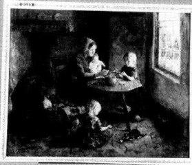 Boereninterieur met vrouw en drie kinderen