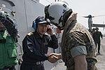 JMSDF leadership greets a U.S. Marine Corps officer. (25936524954).jpg
