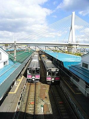 Aomori Station - Aomori Bay Bridge and trains