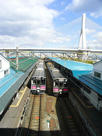 Aomori Station - Aomori Bay Bridge and trains for the JR Ōu Main Line