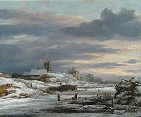 Winter Landscape with figures and a Windmil