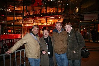 Volker Beck (politician) - Jacques Teyssier (partner of Volker Beck), Vladimir Ivanov, Volker Beck and Nikolai Alekseev in February 2007 in Berlin during the Berlin International Film Festival.