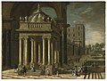 Jakob Ferdinand Saeys (Attr.) - Classical portico with fountain, elegant company on a palatial terrace with formal gardens.jpg