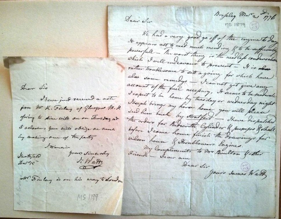 James Watt's letters from the Science Museum Library & Archives in Wroughton