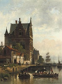Jan Michiel Ruyten - A view on the quay of the Schelde with the pilotage, Antwerp.jpg