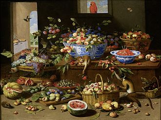 Jan van Kessel the Younger - Basket and bowls of fruit with two monkeys, a squirrel, a macaw and two guinea-pigs