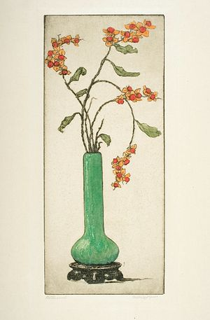 Bertha Jaques - Bittersweet, 1920, hand-colored etching by Bertha Jaques, from the collection of the Cedar Rapids Museum of Art