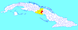 Jatibonico municipality (red) within  Sancti Spíritus Province (yellow) and Cuba