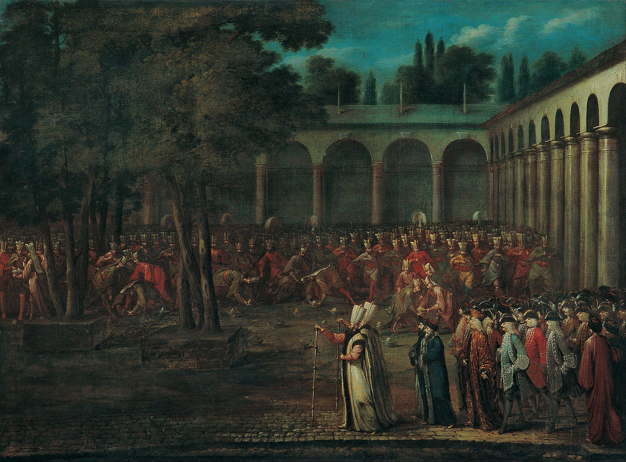 Jean Baptiste Vanmour - The Ambassadorial Delegation Passing through the Second Courtyard of the Topkapı Palace - Google Art Project.jpg
