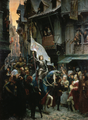 Jeanne d'Arc, victorieuse des anglais, rentre à Orléans et est acclamée par la population - Jean Jacques Scherrer 1887.png