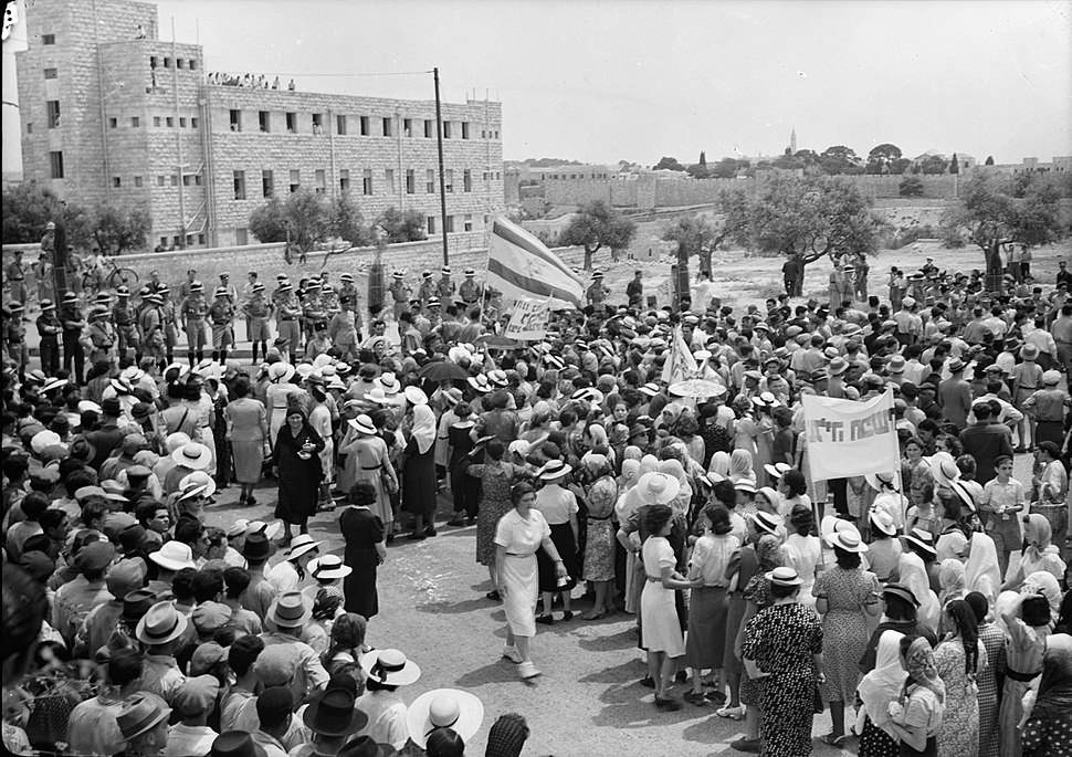 Jewish anti Palestine White Paper demonstrations. Women's demonstration on May 22, 1939. Demonstration approaching King David Hotel stopped by cordon of police seen in distance. matpc.19611
