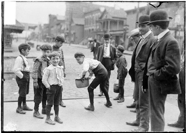 Jewish men and boys on Chicago Sidewalk