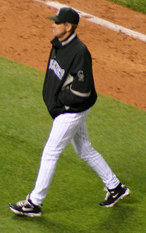 Jim Tracy (baseball) - Tracy walking out to discuss a call with an umpire.