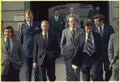 Jimmy Carter and White House aides, Jordan Hamilton, Rex Grannum with Gerald Rafshoon. - NARA - 182722.tif