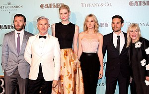 The Great Gatsby (2013 film) - From left to right: Joel Edgerton and director Baz Luhrmann, Elizabeth Debicki, Carey Mulligan, Tobey Maguire, and producer and designer Catherine Martin at the premiere of The Great Gatsby in Sydney, May 22, 2013